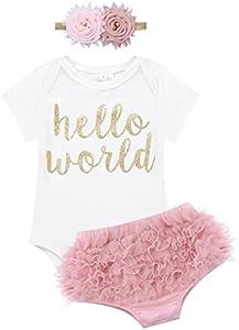 iiniim 3pc Conjunto Ropa Pelele + Bloomers Pantalones Cortos Tutú Falda con Diadema Flor Niña Bebé Recién Nacido Pijama Vestido Princesa Mono Conjunto de Navidad Fiesta White&Dark Pink 9 Months