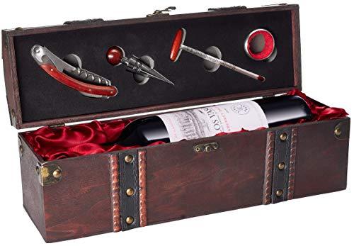 BRUBAKER Geschenkset Weinset mit 1 Flasche Rotwein Jahrgang 2018 Los Vascos Rot Cabernet Sauvignon - in Holzkiste mit Sommelierset