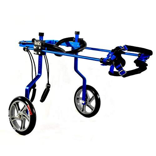 KAJILE Dos Ruedas Azules Ajustables Silla de Ruedas para Perros de Chapado de Aluminio para rehabilitación de Patas traseras de Perros discapacitados