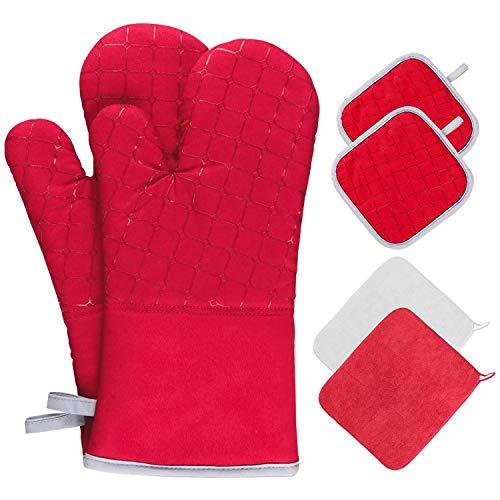 Akatsuki Set di 6 guanti da forno e presine, con 2 asciugamani resistenti al calore, antiscivolo, adatti per cottura a forno, grigliate, colore rosso…