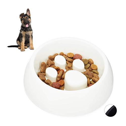 Relaxdays 10023895_49 Comedero Perro y Gato Antivoracidad, Plástico, Blanco, 5.5 x 19 cm