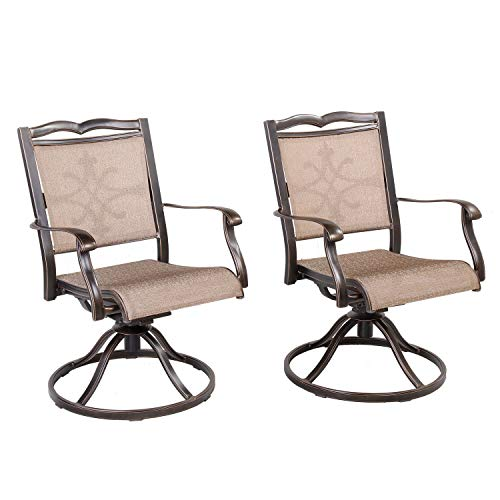 CW Chair Outdoor Cast Aluminum Swivel Rocker, Rust-Free Patio Dining Lawn Garden Backyard Chairs Furniture, Set of 2, Brown