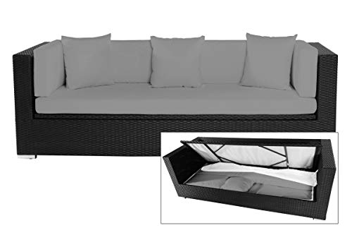 Outflexx Dreisitzer-Sofa, inklusive Polster und Kissenbox funktion, Polyrattan, Schwarz, 210 x 85 x 70 cm