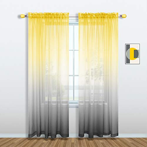 Yellow and Gray Curtains for Living Room Set of 1 Panel Pole Pocket Faux Linen Semi Sheer Drapes Ombre Voile Curtains for Bedroom Dining Room Girls Bedroom 52 x 84 Inch Length Yellow and Grey