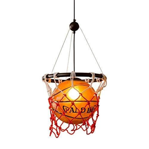 Yby Modern Araña americana, Iluminación LED/Lámpara de techo, Retro Baloncesto Araña de Vidrio Pantalla de Lámpara de Arte Decorativo Araña de Techo de la Barra de Estadio Restaurante Araña (58×32cm)