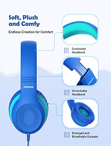 Mpow CH6S Kids Headphones with Microphone Over-Ear/On-Ear, HD Sound Sharing Function Headphones for Childre   n Boys Girls, Volume Limited Safe 85dB/94dB Foldable Headset w/Mic for School/PC/Cellphone