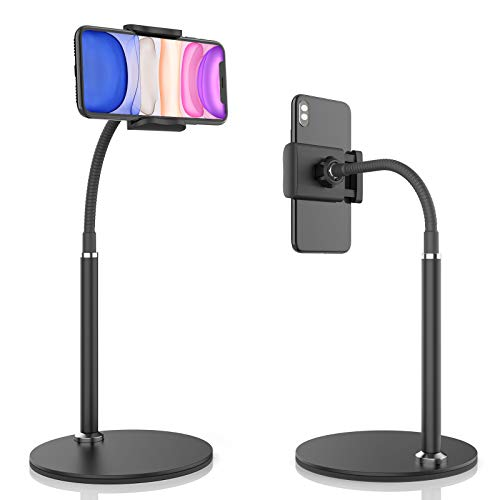 """Cell Phone Stand, Adjustable Height & Angle Phone Holder Gooseneck Flexible Arm Universal Phone Stand for Desk, Aluminum Alloy Desktop Cell Phone Holder Compatible with 3.5""""-6.5"""" Device (Black)"""