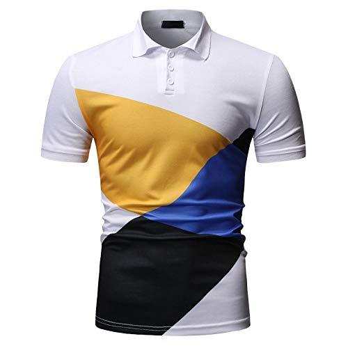 CFWL Camisa De Polo De Moda Casual para Hombres, Camiseta De Manga Corta con Solapa Que Bloquea El Color Oxford De Manga De Corte Entallado para Hombre Hombre 3D Estampada Blanco M