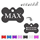Iberiagifts - Bone ID Tag For very Small <span class='highlight'>Pet</span>s like or puppies, For Dogs And Cats, Engraved And Personalised (Black)