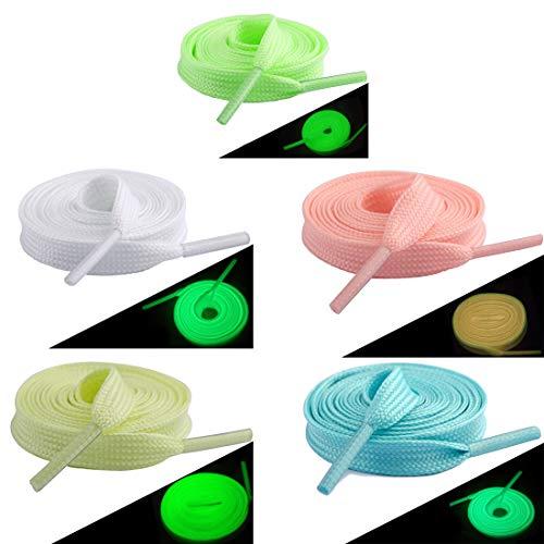 LZYMSZ 10paar 100cm Fluoreszierende Schnürsenkel für Party oder Tanzen Leuchtende flache Schnürsenkel Glühende Athletische Schuhspitze (5-color)