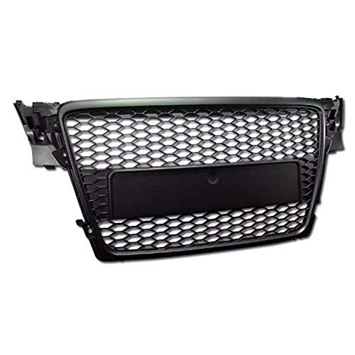 R&L Racing Front Grill Compatible with A4 B8 09-12 | Black Honeycomb Mesh Hood Bumper Grille Guard ABS