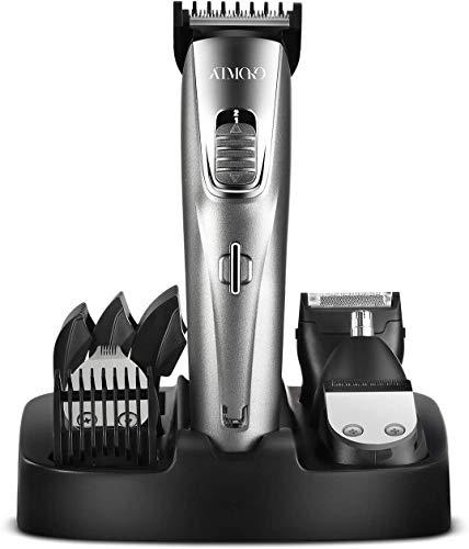 Barbero Eléctrico Profesional 5 en 1 con 5 Peines, Afeitadora Corporal Hombre, Cortapelos, Recortador de Barba, Vello de Nariz y Orejas, Máquina de Afeitar Impermeable Inalámbrica Recargable USB