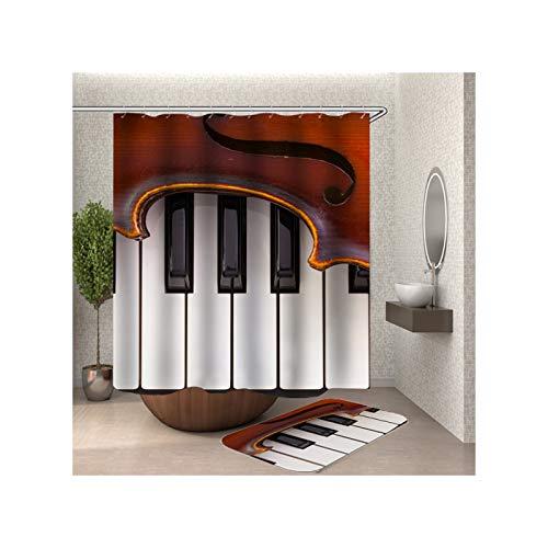 Anwaz Duschvorhang & Badezimmerteppich Set Waschbar aus Polyester Klavier Muster Design Bad Vorhang Badezimmer Teppich Bunt mit 12 Duschvorhangringen für Badezimmer - 150x180CM/ 40x60CM