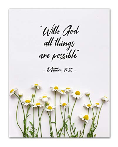 """Matthew 19:26""""With God All Things Are Possible."""" Bible Verse Wall Print- Unframed 11 x 14 Print - Inspirational Gift for Family & Friends"""