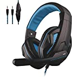 PS5 Gaming Headset, 3.5mm Wired Online Chat Bass Stereo Earphone Over Ear Noise Cancelling Headphone with Microphone, Volume Control for Desktop PC & Sony Playstation 5 4 PS4, PS4 Slim, PS4 Pro – Blue