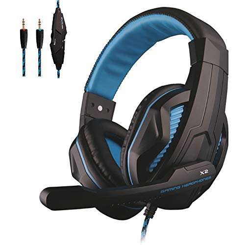 afunta headphones bluetooths PS5 Gaming Headset, 3.5mm Wired Online Chat Bass Stereo Earphone Over Ear Noise Cancelling Headphone with Microphone, Volume Control for Desktop PC & Sony Playstation 5 4 PS4, PS4 Slim, PS4 Pro – Blue