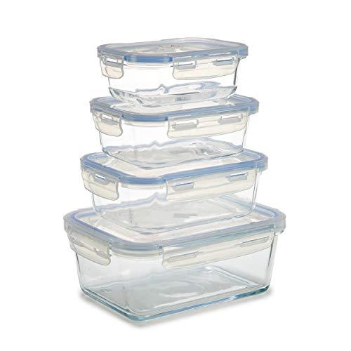 TU TENDENCIA ÚNICA Set de 4 fiambreras apilables de Cristal y Tapa de plástico translucido. Cierre hermético. Varias capacidades