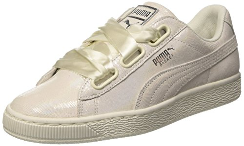 PUMA Damen Basket Heart Night Sky 364108-02 Sneaker, Weiß (White-White), 40 EU