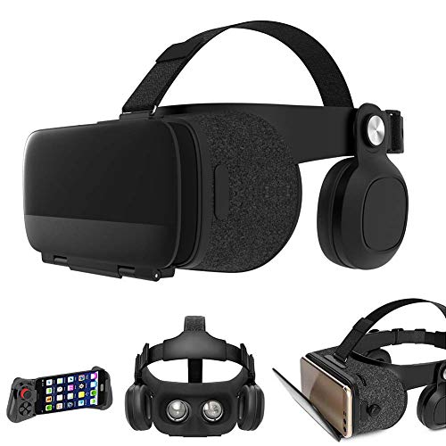 VR Headset All in One Wireless Virtual Reality Headset 3D VR Glasses, High Definition Optical Lens, Fully Adjustable Strap, Focal and Object Distance, for All Smartphones 4.7-6 inches