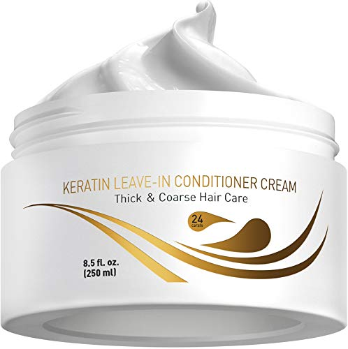 Vitamins Leave in Conditioner Cream - Thick Coarse Hair Enhancer Curl Defining Protein Care Detangler for Dry and Damaged Hair (Keratin)