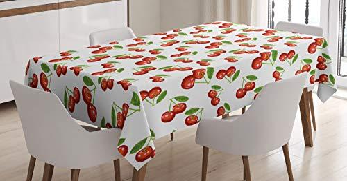 ABAKUHAUS Fruit Nappe, Motif Cerise Fruit, Linge de Table Rectangulaire pour Salle à Manger Décor de Cuisine, 140 cm x 240 cm, Blanc Vermilion Vert