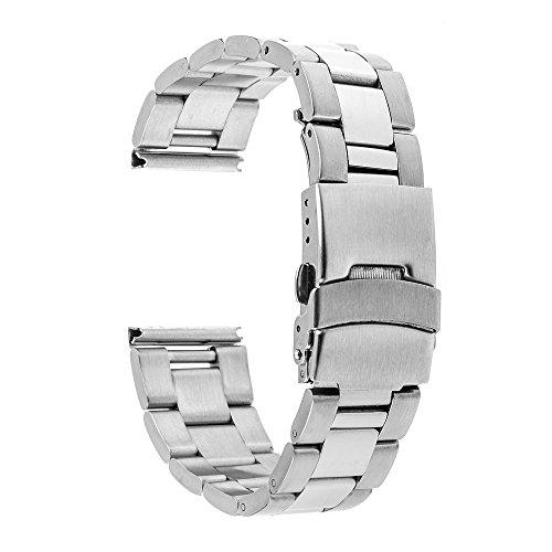 TRUMiRR 22mm de Acero Inoxidable Reloj de Seguridad de la Banda de la Hebilla de la Correa para Samsung Gear S3 Classic Frontier, Moto 2 360 46mm, ASUS ZenWatch 1 2, LG G, Huawei Watch 2 (Classic)