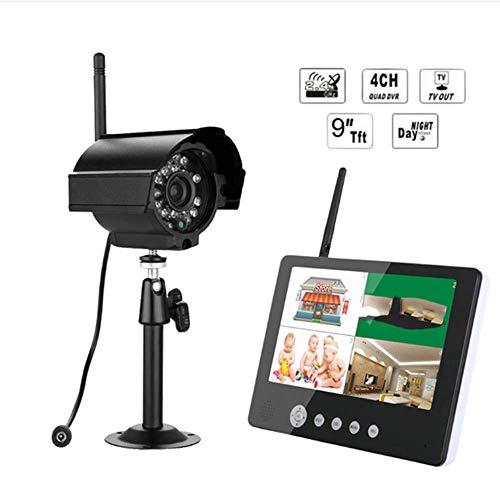 SISHUINIANHUA Cámara Digital con 9'Monitor LCD DVR Kit inalámbrico Sistema de Seguridad CCTV para el hogar,UK