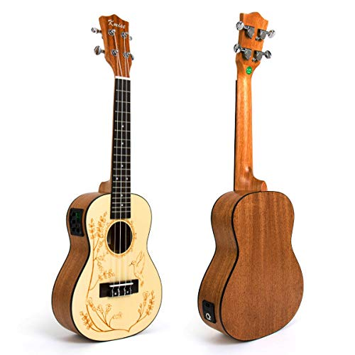 Kmise Elektroakustische Ukulele Hawaii-Gitarre Konzert Ukulele mit EQ, Solide Fichte Sapele 58,4 cm Concert (UK-24)