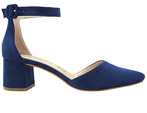 Greatonu Damen Sandalen Velour Knöchelriemchen Blockabsatz Sandalen Blau Größe 39EU - 2