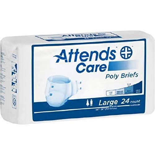 Attends Care Poly Briefs with Odor-Shield for Adult Incontinence Care, Large, Unisex , 24 Count (Pack of 3, Packaging may vary)
