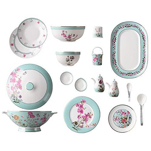 FDPVJSS Juego de Cena Combi-Set, Platos de Porcelana, Plato, cucharas, para hornos de microondas, lavavajillas (Tamaño : 42pcs)