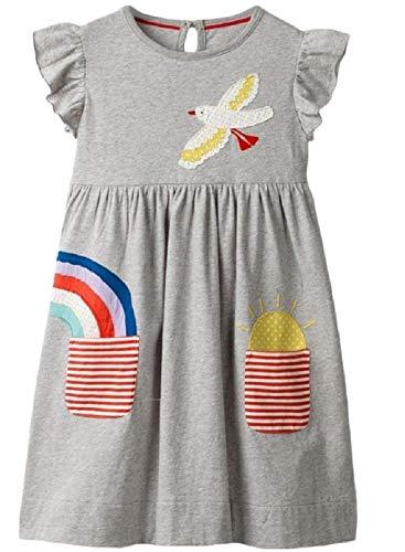 [セウルブルー] 手作り デザイナーズ 刺繍 ワンピース チュニック スカート キッズ ガールズ 子供 服 灰色 スカート ワンピ 洋服 ドレス ルームウェア 可愛い わんぴーす 女児 ガール こども かわいい 子ども服 小学生 幼児 海外 おしゃれ 発表