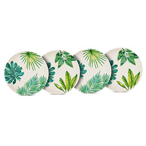 Juego de 4 platos de bambú, diseño de hoja de palmeras, PPD, 25 cm de diámetro