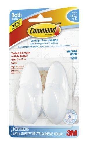 Command Bath Hook, Medium, 3-Pound Capacity, 2-Hook, 4-Pack by Command (English Manual)