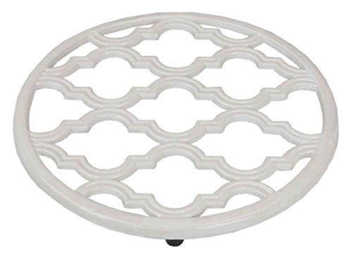 Home Basics Lattice Collection Cast Iron Trivet for Serving Hot Dish, Pot, Pans & Teapot on Kitchen Countertop or Dinning, Table-Heat Resistant (1, White)