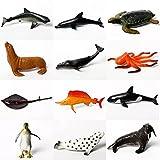 JINGRU 12 Piezas de simulación de Criaturas de la Vida Marina, Modelo de Animal de simulación, Figuras de Animales Surtidas, estatuilla submarina, Acuario, Juguetes de decoración para el hogar
