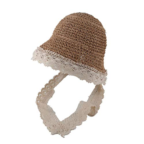 TENDYCOCO Sombrero de Playa de Verano para niños, Transpirable, Sombrero de Paja, Sombrero para el Sol, para bebés, para bebés pequeños (48-54CM)