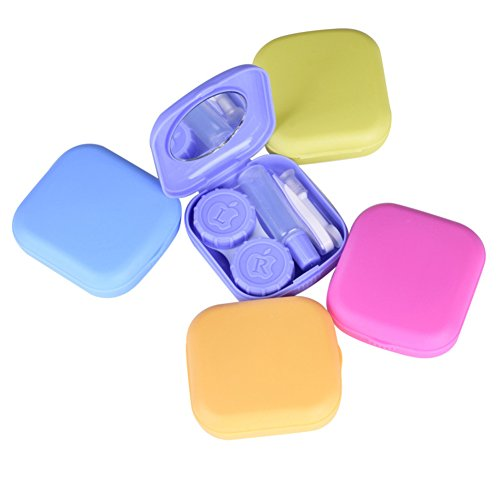 Lubier 1PCS Mini Kontaktlinsenbehälter Travel Kit quadratische Form Kontaktlinsenbehälter tragbar unsichtbar Objektiv travel kit Fall (zufällige Farbe)