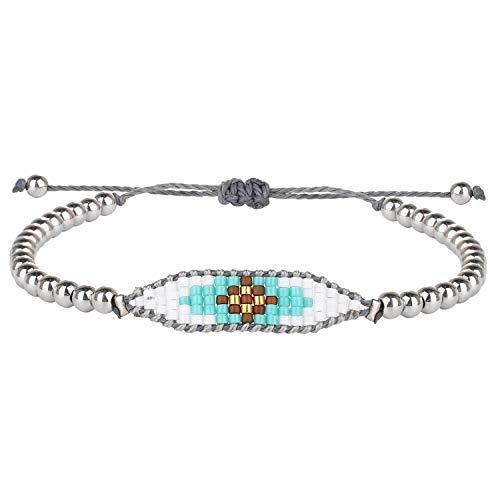 KELITCH Frauen Gold Silber Perlen Armbänder Boho Seed Perlen Manschette Armband Einstellbar Weave Freundschaft Armreif Armband