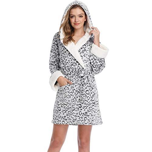 YSHANT Frauen warme Morgenmäntel Leopard Teddy Fleece Weibliche Bademäntel Kapuzen Nachtwäsche Rosa Morgenmäntel Roben für Frauen