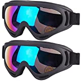 Kids Motorcycle Goggles, 2-Pack Dirt Bike Goggles for Child, ATV Off-Road Racing Goggles for Boys Girls