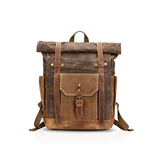 FANDARE Moda Impermeable Bolso de Escuela Viaje Mochila Hombres 15.6 Pulgadas Laptop Backpack Outdoor Camping Gran Capacidad Rucksack Lona Marrón