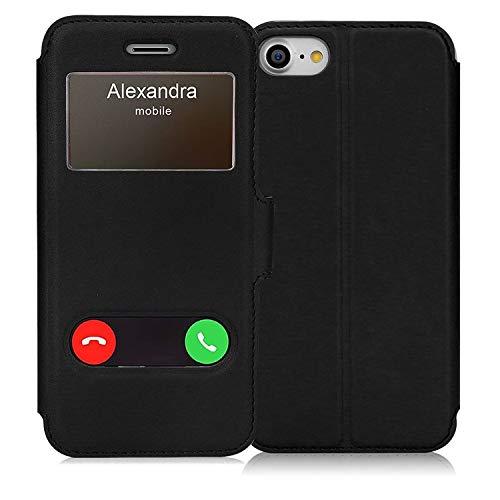 FYY iPhone 7 Hülle,iPhone SE Hülle 2020,iPhone 7 Handyhülle iPhone 8 Tasche,Premium PU Lederhülle Flip Leder Handytasche mit [View-Fenster]und Magnetverschluss für Apple iPhone 8/ iPhone 7,Schwarz