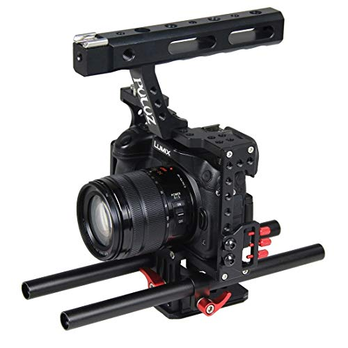 Video Live Bracket Camera Cage Handle Stabilizer, for Sony A7 / A7S / A7R, A7R II / A7S II, A7RIII / A7 III, Panasonic Lumix DMC-GH4 (Color : Red)