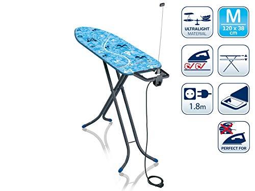 Leifheit Air Board M Compact Plus Dampfbügeltisch, 60years Color Edition blau, für Dampfbügeleisen, ultraleichtes Bügelbrett, für gute Ergebnisse in kurzer Zeit