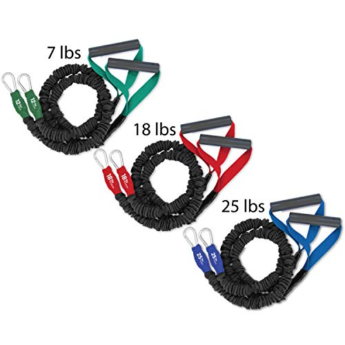 FIT CORDS - Three X-OVER Sport Covered Resistance Bands with PADDED HANDLES, NYLON SAFETY SLEEVE & PREMIUM LATEX EXERCISE TUBE LIGHT, MEDIUM and HEAVY with One DOOR ANCHOR