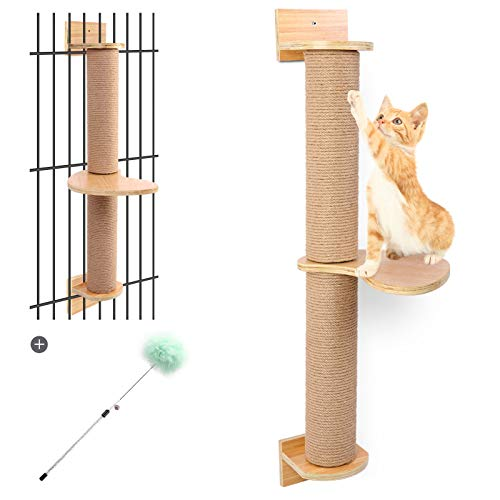 Odoland Cat Activity Tree with Scratching Posts - Wall Mounted Cat Scratching Post Cat Shelves with Solid Wood Steps - Cage Mounted Cat Jute Scratcher Hammock for Indoor