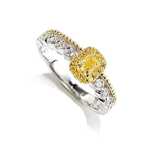 AmDxD Anillo Mujer Oro 18 Kilates, Anillos Compromiso Mujer 0.38ct Amarillo Diamante con 0.21ct Blanco Diamante, Oro Amarillo, Tamaño 10 (Perímetro: 49mm)