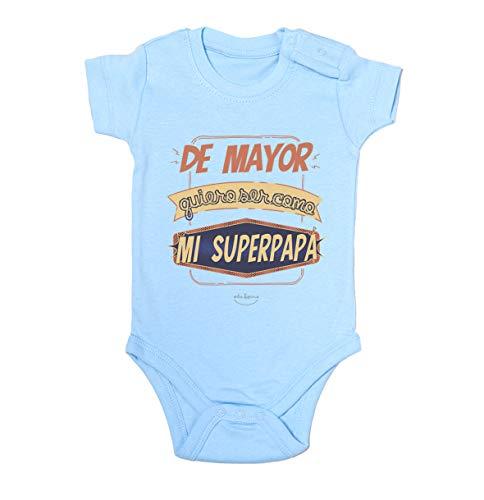 """Body bebé regalo nacimiento - manga corta - Mensaje""""De mayor quiero ser como mi superpapá"""" (Azul, 3 meses)"""