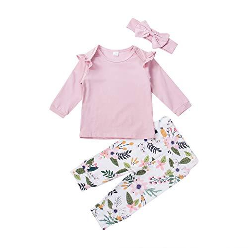 3 Stks Pasgeboren Baby Meisje Ruche T Shirt Tops Romper Bloem Leggings Outfit Set Kleding